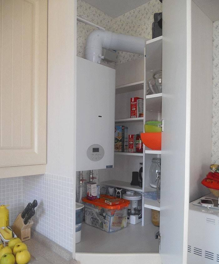 Маскировка газового котла в малогабаритной кухне