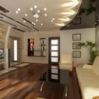 Дизайн комбинированного потолка с декоративными вставками