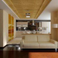 Потолок из дерева и гипсокартона в зале частного дома