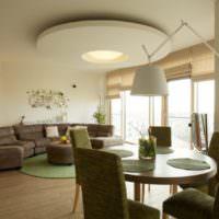 Зонирование гостиной с помощью потолка