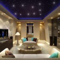 Звезды на натяжном потолке в гостиной