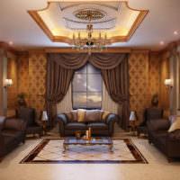 Дизайн классической гостиной с гипсокартонным потолком