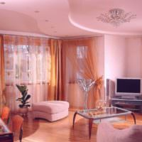 Интерьер зала в розовых оттенках
