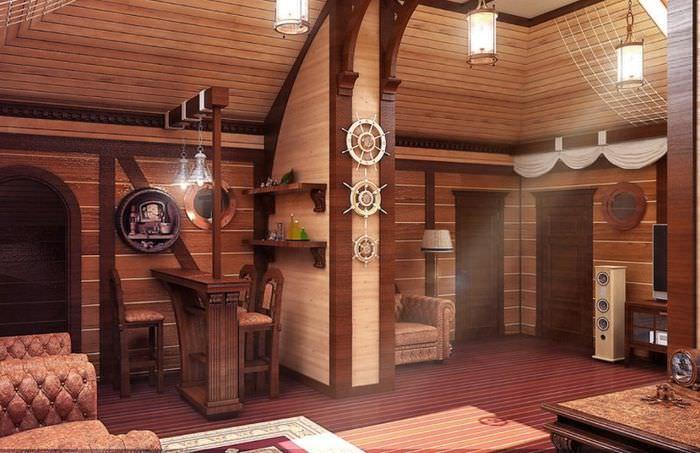 Интерьер банной комнаты отдыха в морском стиле
