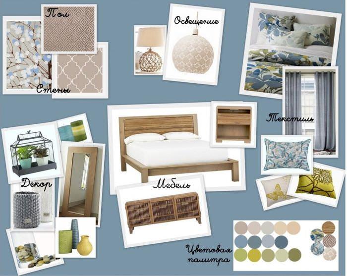 Составление коллажа интерьера спальной комнаты