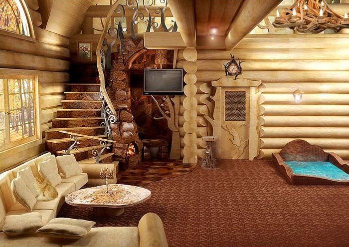 Интерьер просторной комнаты отдыха в бане