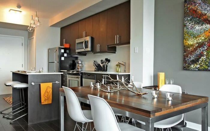 Современный дизайн обеденной зоны в кухне-гостиной