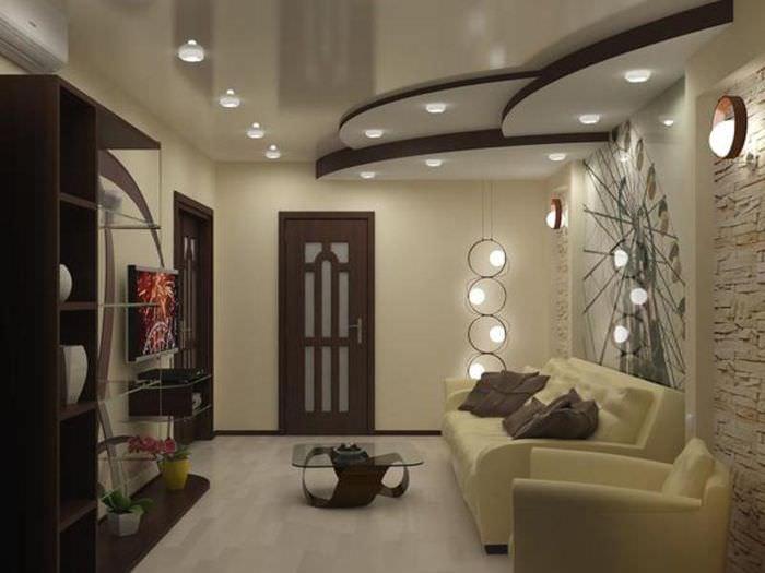 Зонирование пространства зала с помощью многоуровневого потолка