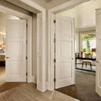 Светлые распашные двери в прихожей