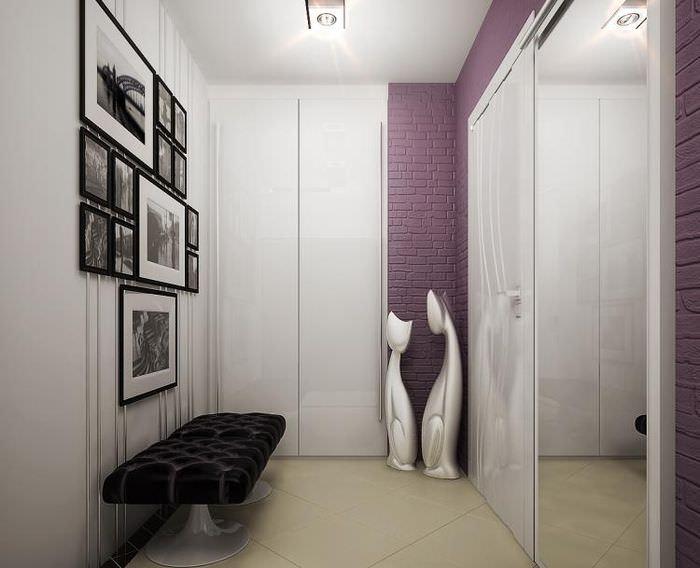 Интерьер коридора площадью 4 кв метра в светлых оттенках