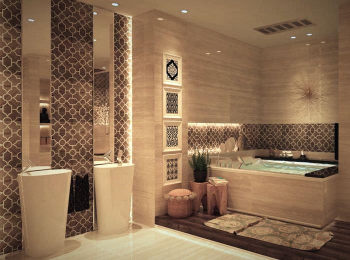 Интерьере ванной комнаты в марокканском стиле