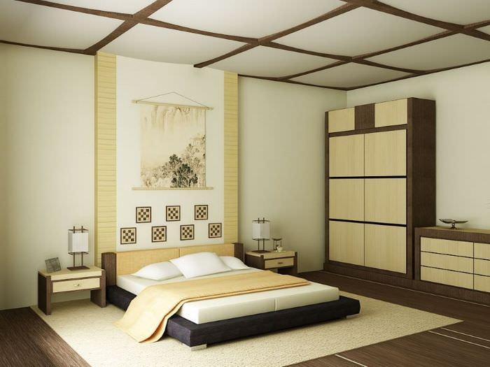 Интерьер современной спальни в японском стиле