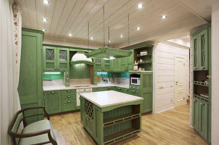 Дизайн кухни частного дома в деревенском стиле