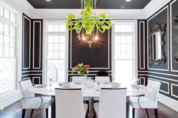 Люстра зеленого цвета в гостиной стиля модерн