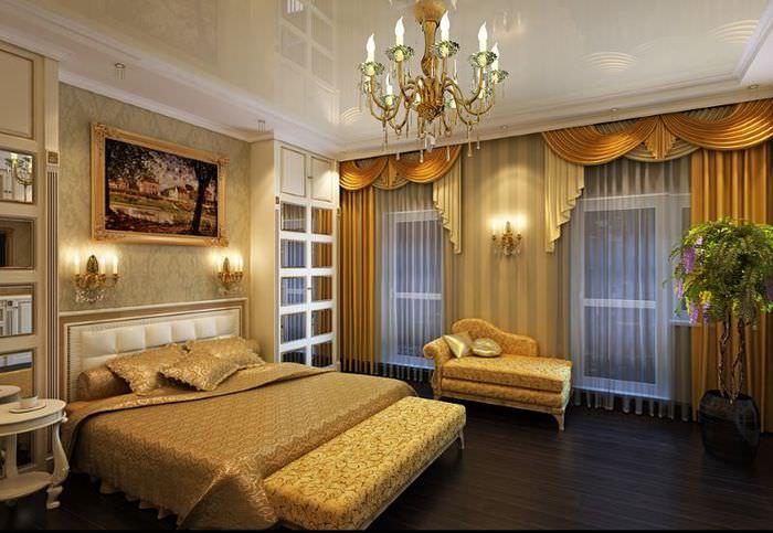 Интерьер спальной комнаты в золотом цвете