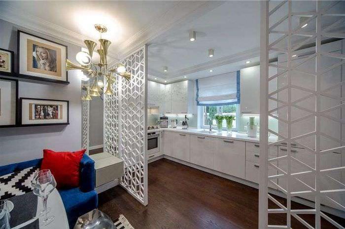 Решетчатые перегородки на кухне-гостиной