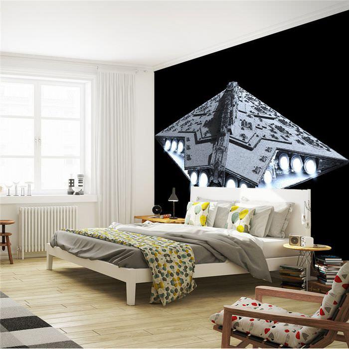 Фотообои в спальне по мотивам звездных войн
