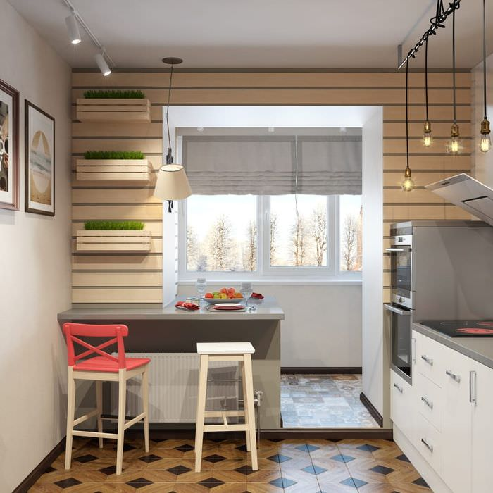 Барная стойка вместо подоконника на кухне с балконом