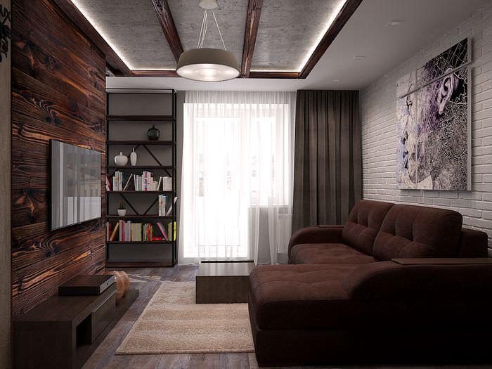 Интерьер гостиной в однокомнатной квартире площадью в 35 квадратов