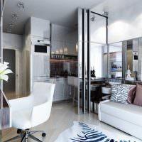Зонирование кухни раздвижными перегородками из стекла