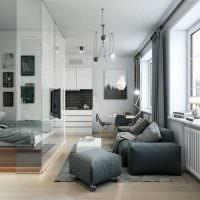Серый цвет в интерьере однокомнатной квартиры