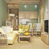 Интерьер жилой комнаты в панельном доме