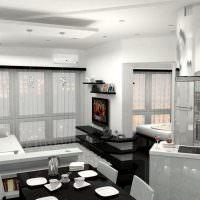 Дизайн однокомнатной квартиры с черной мебелью