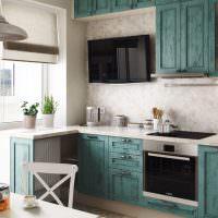 Кухня в стиле прованс с фасадами из дерева