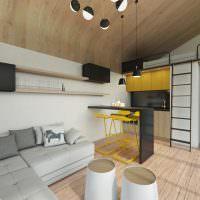 Желтые барные стулья и черная столешница