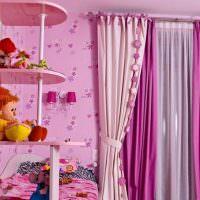 Розовые занавески в детской комнате