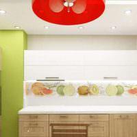 Освещение на кухне с красным абажуром