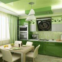 Натяжной потолок в интерьере кухни