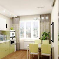 Бледно-зеленые фасады кухонного гарнитура