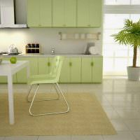 Пол их керамической плитки на кухне частного дома