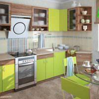 Коричнево-зеленый кухонный гарнитур
