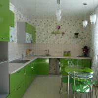 Обеденная зона на кухне угловой планировки