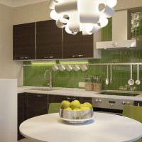 Зеленый фартук из керамической мозаики