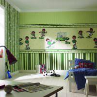 Сочетание зеленых обоев с различным рисунком