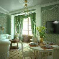 Гостиная загородного дома в зеленом цвете