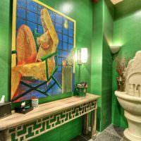Стены в ванной комнате с водостойкими обоями