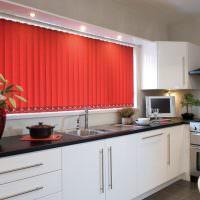 Красные жалюзи в интерьере кухни