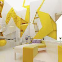 Дизайн спальни в желто-белом цвете