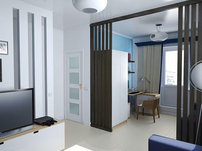 Декоративная перегородка между гостиной и кабинетом