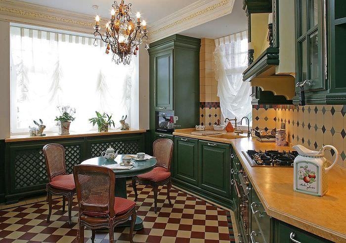 Темно-зеленые фасаду кухонного гарнитура