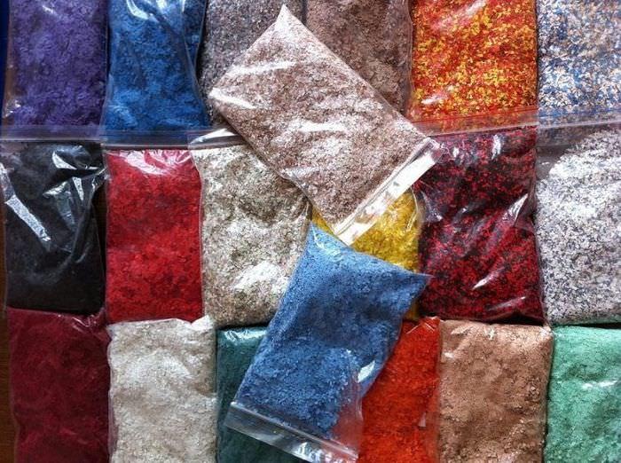 Пакетики с декорирующими добавками для жидких обоев