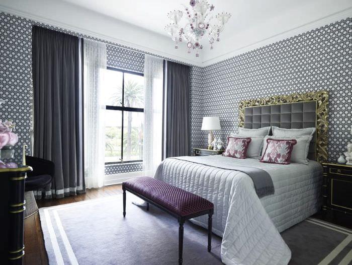 Темные шторы в спальня стиля модерн