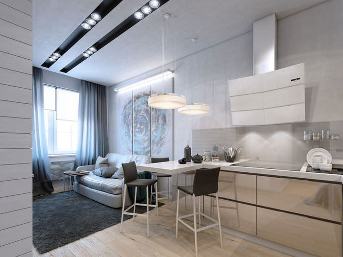 Освещение в небольшой комнате однокомнатной квартиры