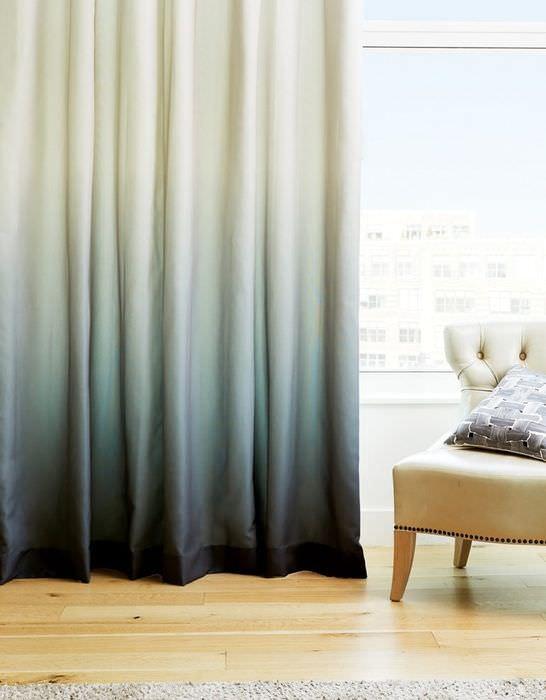 Плотные шторы с плавным переходом цвета