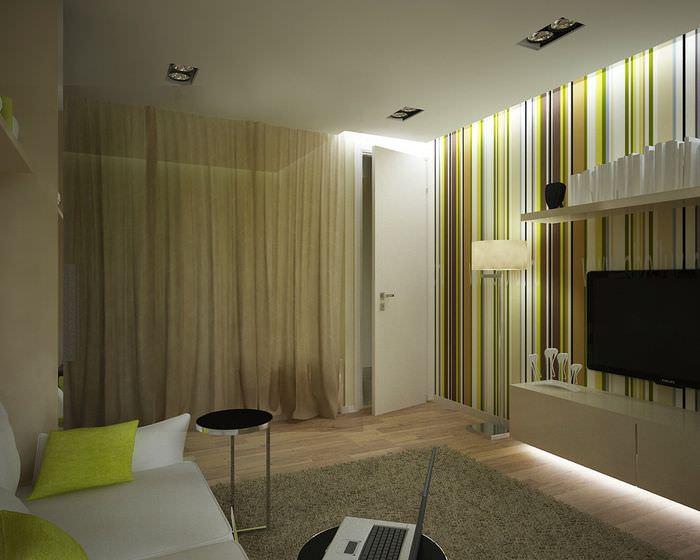 Зонирование пространства однокомнатной квартиры с помощью ширмы