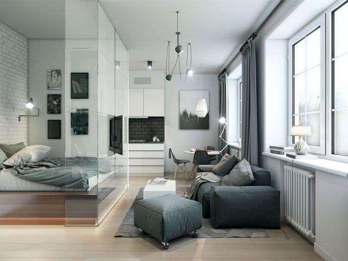 Стеклянная перегородка в однокомнатной квартире площадью в 35 кв м